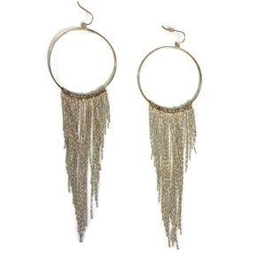Silver Hoop Fringe Earrings